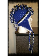 Royal Blue, Black & White Handmade Crochet Mohawk Hat - $30.00