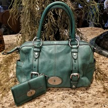 FOSSIL Maddox Teal Green Leather Satchel & Matching Bifold Maddox Wallet - $79.95