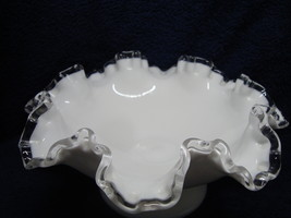 Fenton Glass white milk glass silver crest double crimped footed candy d... - $15.00