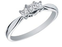 Princess Cut White CZ Three Stone Engagement Ring In 14k Gold Plated 925 Silver  - $51.23