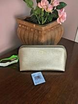 Coach Cosmetic Bag 17 Crossgrain Leather F23332 Platinum Gold  M6 - $63.69