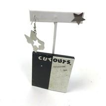 Vtg 90s Cut Outs Earrings Asymmetrical Silver Tone Pierced Texas Star da... - $14.84