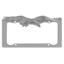 Chrome License Frame, Cool Personalized Silver License Plate Frame Eagle - $15.09