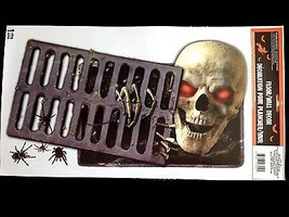 Gothic Horror-PEEPING REDEYE SKULL-Wall Sticker Floor Cling Halloween De... - $92,21 MXN
