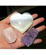 Meditation Calming set Amethyst,Rose Quartz, Selenite Puffy Heart Reiki  - $23.75