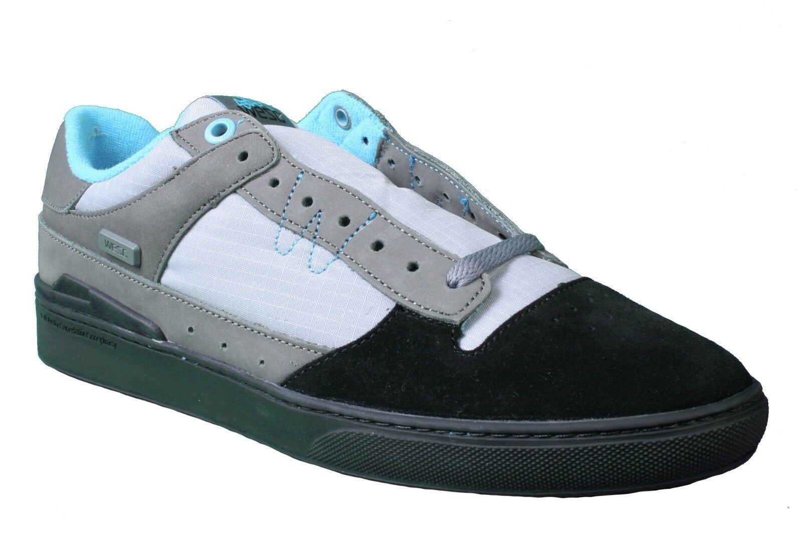 WeSC Mens Black Dark Shadow Gray Turquoise Emerson Stash Graffiti NY Shoes