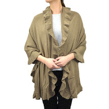 Women's Ruffle Trim Knit Poncho-like Shawl Wrap Scarf Winter Warm Solid ... - $16.99