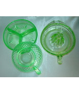 Lot (3) GREEN Depression Glass Pieces - Divided Dish, Juicer/Reamer, Sou... - $19.50