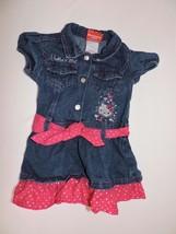 Hello Kitty Denim Dress Pink Hearts Short Sleeve Toddler Girls Pink Bow ... - $14.98
