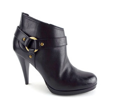 COLE HAAN Size 7.5 Black Leather Ankle Boots w/ Harness 7 1/2 - $64.00