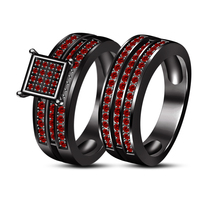925 Silver 14K Black Gold Over Red Garnet Engagement Bridal Ring Set & Free Gift - $135.20
