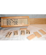 Dominoes Set Natural Wood Hand Carved In Mexico Traditional Table Game - $23.38
