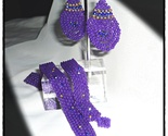 Purple Beaded Wrap Boho Bracelet & Earrings Set  - $20.25