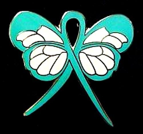 Primary image for Teal Awareness Lapel Pin Ribbon Butterfly Cancer Cause Ovarian PTSD New