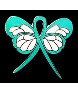 Teal Awareness Lapel Pin Ribbon Butterfly Cancer Cause Ovarian PTSD New - $13.97