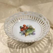 "Vintage Japan Open Work Fruit Bowl Berry Bowl Porcelain Fruits dia 18"" - $8.59"