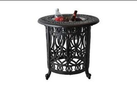 Patio end table cast aluminum Ice bucket insert round Elisabeth side furniture image 5