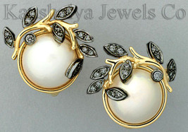 Victorian 0.60ct Rose Cut Diamond Pearl Elegant Cute Wedding Earrings - $201.03