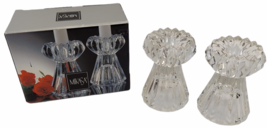 Mikasa Diamond Fire Crystal Glass Candleholders WY247/339 Pair with Box - $9.89