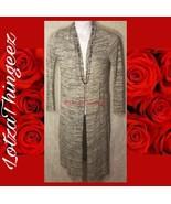 WHBM White House Black Market S Black Grey White Striped Cardigan Duster... - $29.69