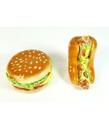 Vintage Hamburger And Hot Dog Salt And Pepper Shakers Cute  - $24.18