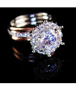 Solitaire Engagement Ring - HUGE Flashy CZ Diamond - rose gold plate -  ... - $145.00