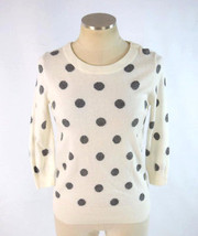 TALBOTS Soft White Gray Polka Dot Merino Wool Knit Sweater Jumper Top Womens S - $19.79