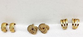 3 Pr Vintage Earrings Gold Tone Clip-On Back Fa... - $19.27