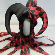 AMSCAN Sinister Jester Halloween Costume Hat, Mask Red Black checkered Adult - $18.57