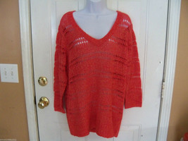 ELLE Geranium  Open Stitch Sweater Size XL Women's NEW LAST ONE HTF - $33.19