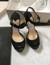NIB 100% AUTH Jimmy Choo Linda Black Glitter Platform Sandal Sz 36.5 $695 - $394.02