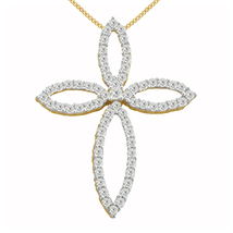 "1.55 Ct Round Cut Diamond 14K Yellow Gold Fn Cross Pendant With 18"" Chain - $173.99"