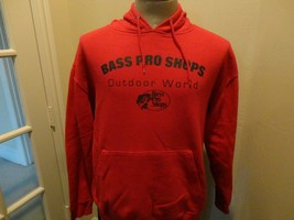 Red Bass Pro Shops Outdoor World Hooded Hoodie 60-40 Sweatshirt Adult M ... - $31.67