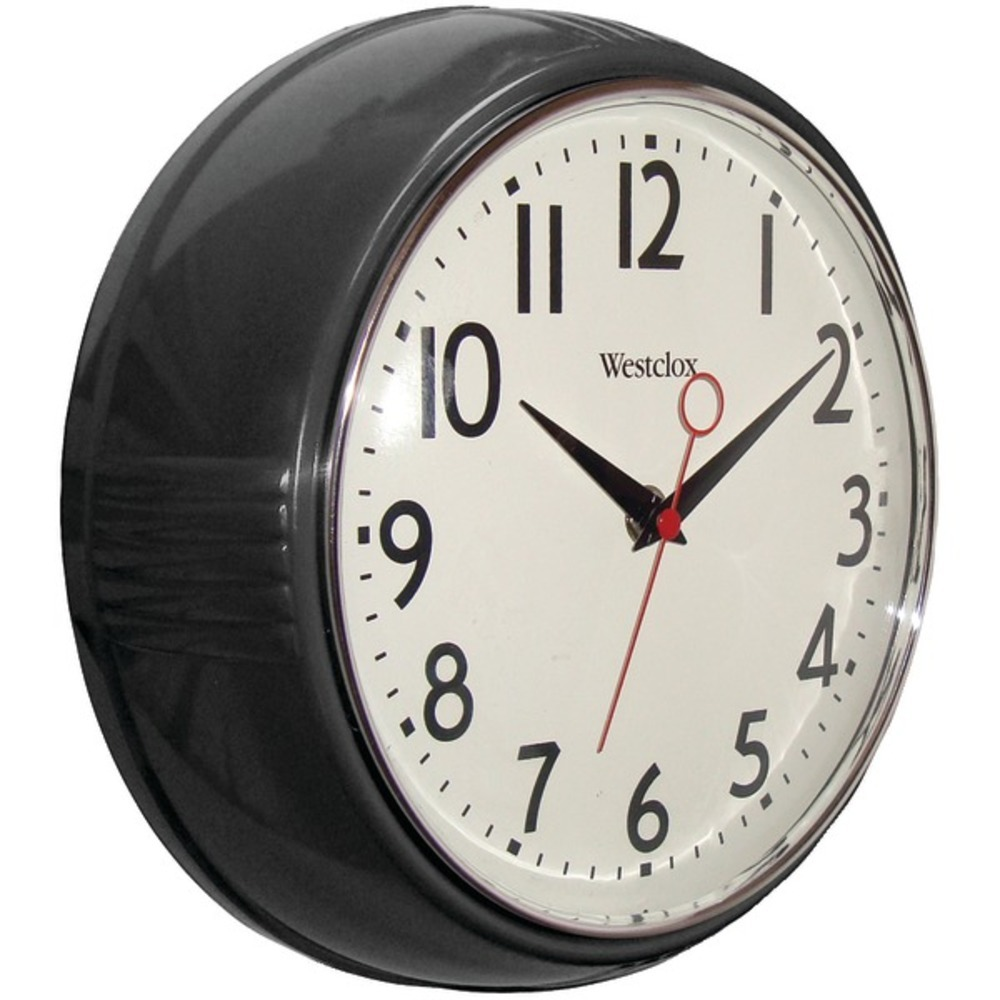 Primary image for Westclox 32042BK 9.5 1950s Retro Black Case Convex Glass Clock