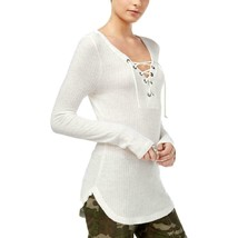 William Rast Women's Ivory Gordon Lace-Up V-Neck Thermal Top Size Small ... - $23.75