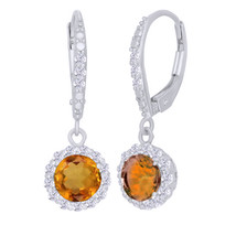 2.16Ct Round Cut Orange Citrine & White Sapphire Sterling Silver Dangle ... - $76.47