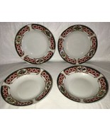 WINDSOR Gibson China Christmas Green Red Check Rocking Horse Wide Rim So... - $29.69
