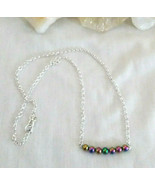 Necklace with Rainbow Hematite Natural Stone Sterling Sliver Great Gift ... - $16.82