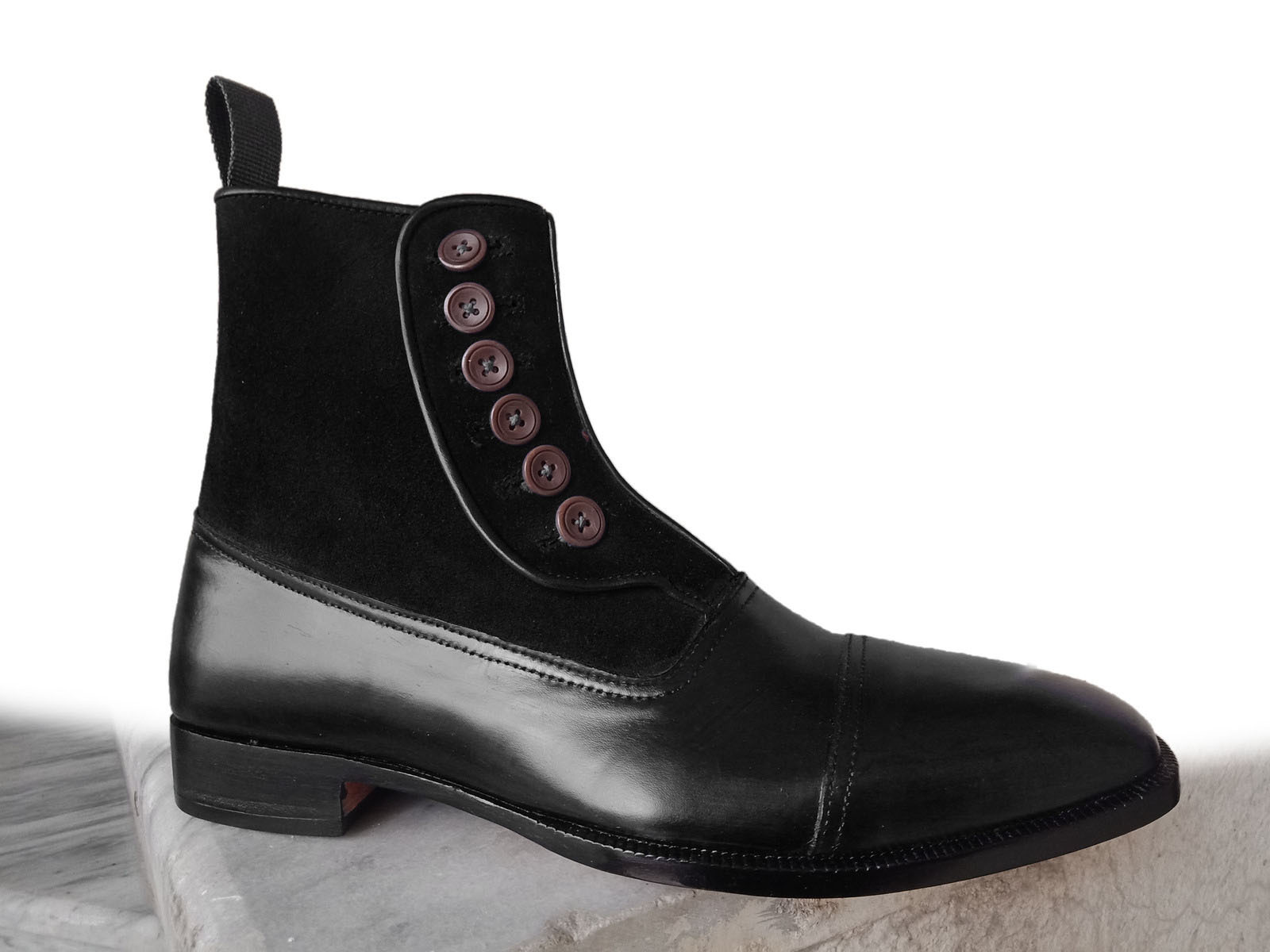 2b21921a14 Handmade mens navy blue suede leather boot men s cap toe button ankle high  boot1
