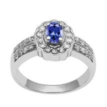 925-Sterling-Silver-Tanzanite & White-Topaz-Gemstone-Solitaire-Accent-Ha... - $28.72