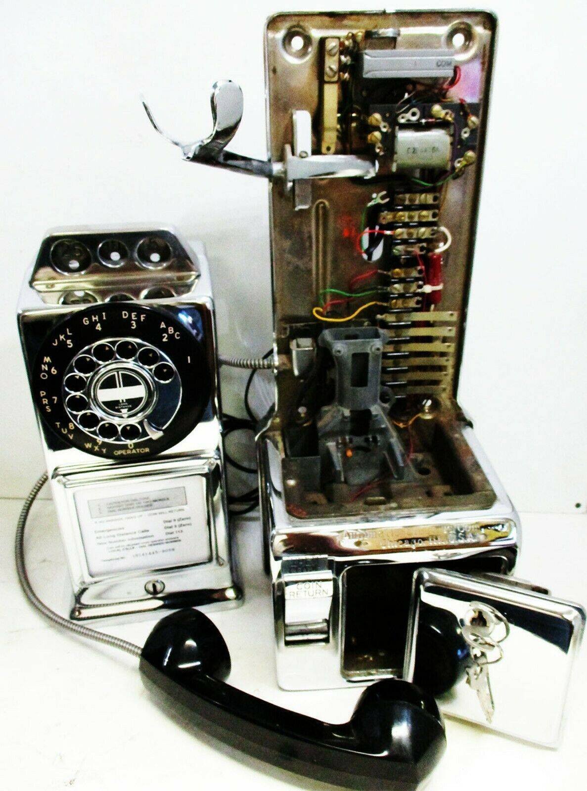 Automatic Electric Chrome Pay Telephone 3 Coin Slot 1960's Rotary Dial