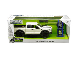 2017 Ford F-150 Raptor Pickup Truck Off White with Black Stripes and Extra Wheel - $42.22