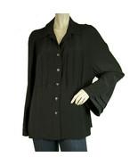 Chanel Black Silk Longsleeve Buttoned Pleated 100% Silk Shirt Top Blouse... - $584.10