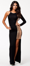 Women Lace Long Sleeve One Shoulder Evening Cocktail sequin Party Maxi D... - $29.99