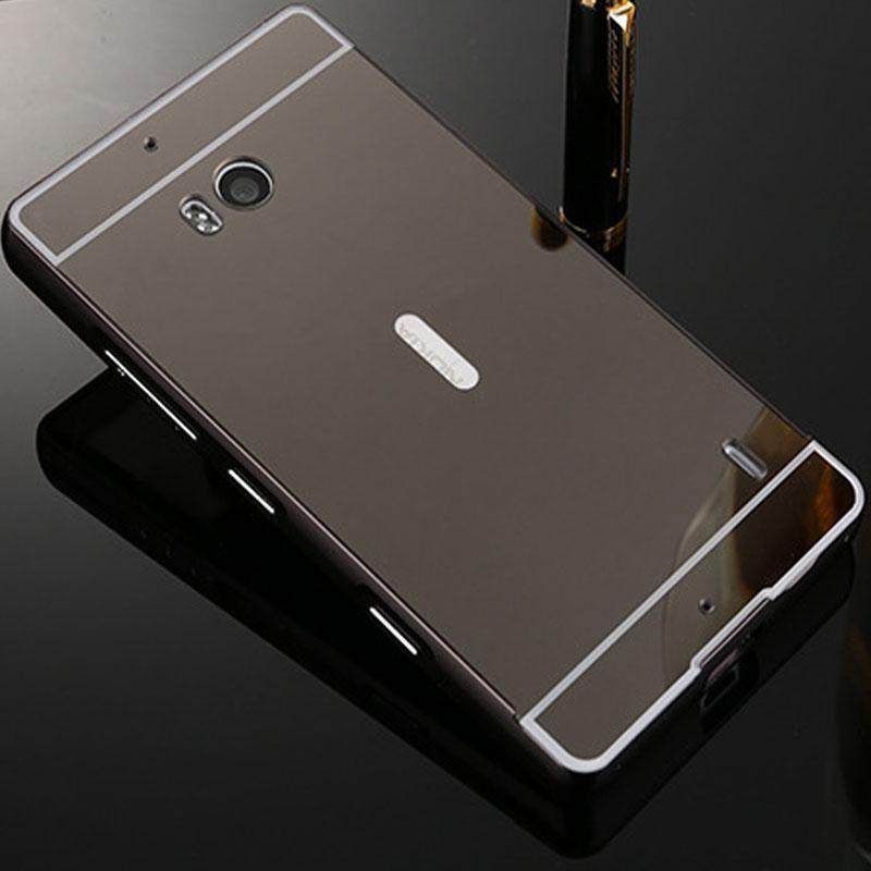 Lumia 930 Case Plating Mirror Aluminum Metal Bumper + Hard PC Back Cover For Mic
