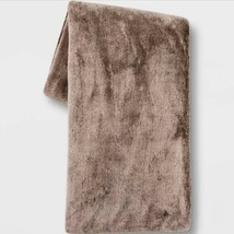 "50""x60"" Faux Rabbit Fur Throw Blanket - Threshold Brown - $20.00"