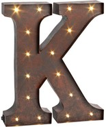 The Gerson Company 12' High Lighted Metal Letter 'K', Rustic Brown - $47.45