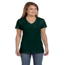 Hanes Women's Nano-T V-Neck T-Shirt, Forest Green, XL - $9.50