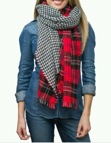 Red Plaid & Houndstooth Knitted Scarf by Faded Glory Reversible, Long & Soft NWT