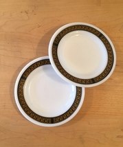Pair of vintage 70s Pyrex Ebony pattern Bread Plates